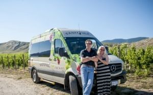 Gordon and Maatje in a winery with a TasteFull Excursions shuttle