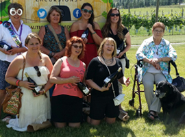 A Tastefull Excursions tour group on a wine tasting tour in the Kamloops Thompson Shuswap area