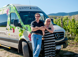 Fields of grapevines and comfortable transportation on wine tasting tours through the Kamloops Thompson Shuswap region with Tastefull Excursions